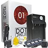DOT-01 Brand 600 mAh Replacement Sony NP-F970 Charger for HXR-NX100 Camcorder and Sony F970 Accessory Bundle with BONUS Lens Blower Brush Cleaning Kit and Hard Memory Card Case