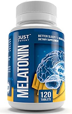 Pharmaceutical Grade Melatonin by Just Potent :: 10mg Tablets :: Better Sleep :: Brain Health :: 120 Count :: Fast Acting and Non-Habit Forming Sleep Aid!