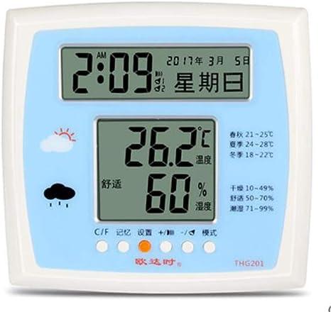 Higrometro Digital Termometro Higrometro Digital Relojes Jardin Hogar Termómetro Electrónico E Higrómetro Electrónico Para Interiores, Reloj Despertador De Alta Precisión, Tabla De Temperatura: Amazon.es: Bebé