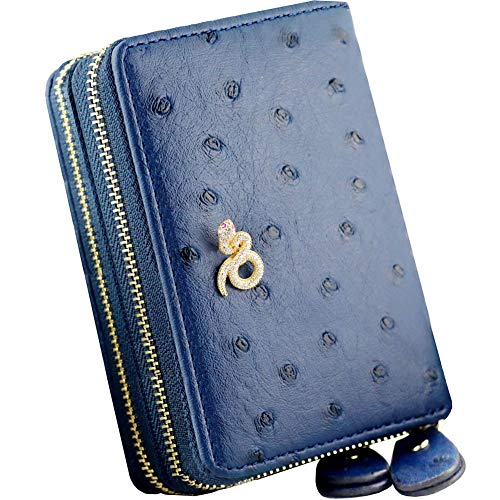 RFID Blocking Snake Credit Card Wallet Double Zippers Womens PU Leather Purse Huge Capacity Accordion Card Holder Cases
