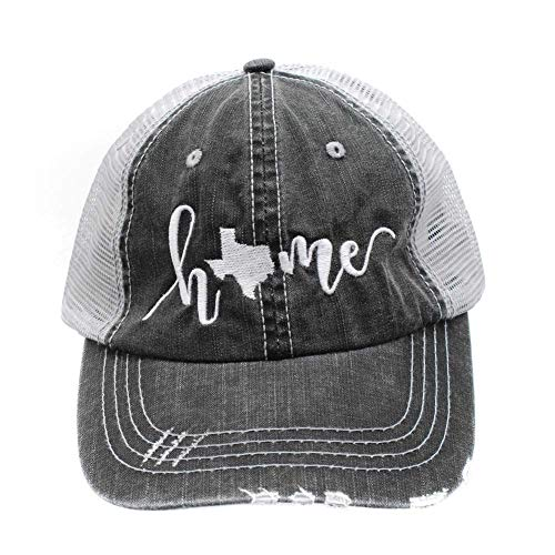 (R2N fashions Texas Home Embroidered Women's Trucker Hats & Caps Black/Grey)