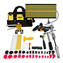 Mookis Paintless Dent Removal, 64PCS Auto Car Body Restore Tools, Slider Hammer Lifter with Dent Lifter, LED Line Board, Glue Stricks, Pro Pulling Tabs Kit