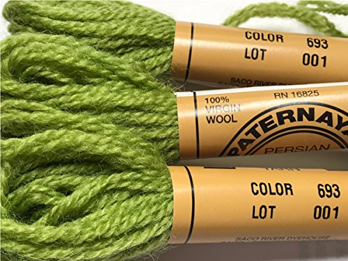Loden Green Wool - Paternayan Needlepoint 3-ply Wool Yarn-Color-693-LODEN GREEN-THIS LISTING IS FOR 2-mini 8-yd skeins