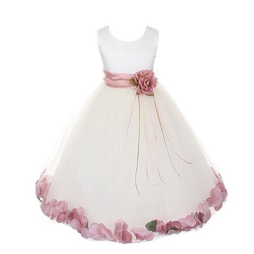 8e6705f2c30 Kids Dream Little Girls White Satin Rose Petal Sash Flower Girl Dress 2