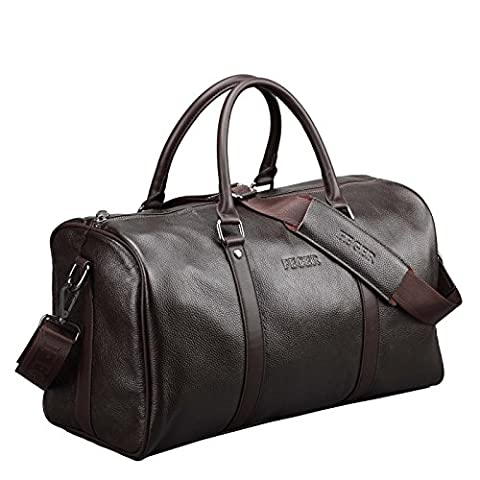 Brown Leather Travel Duffel Bag Classic Overnight Shoulder Bag Weekender Bag Carry On Duffle Tote (I Migliori Bagaglio A Mano Viaggio)
