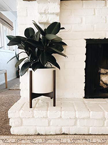 Large Planter Pot with Mid Century Modern Wood Stand for Indoor Plants Drainage Hole (Concrete Pot with Ceramic-Like Finish)