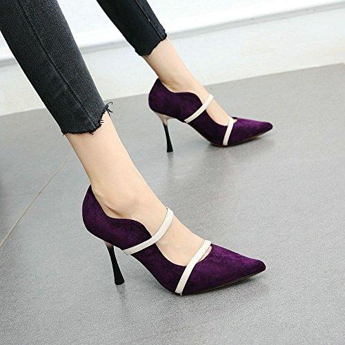 Estilete Zapatos Baja Temperamento Solo Boca de Elegante Sexy Zapatos purple Acentuado YMFIE Alto tacón qRpAnwU6xt