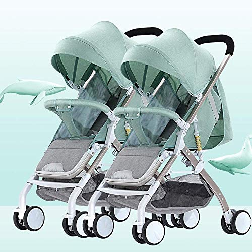 Pushchairs Tandem Foldable Stroller Easy Folding Baby Stroller with Side by Side Twin Seats Double Toddler Baby Pram with Baby Basket Anti-Shock Springs Anti-Shock Baby Products (Color : Green)