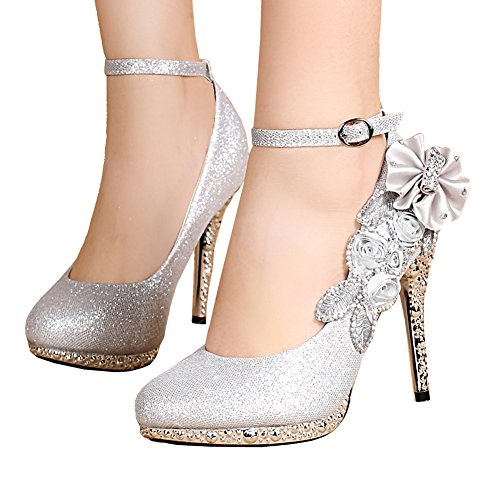 Getmorebeauty Women's Glitter Silver Lace Flower Sequins Strappy Closed Toes Dress Wedding Shoes 9 B(M) US