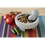 """IMUSA MEXI-2011M Granite Molcajete, 8"""", Gray 7 Made Of Granite Beautiful Serving Piece, goes Seamlessly From Kitchen to Table Easily Grinds Spices & Herbs"""