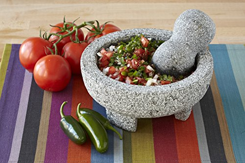 """IMUSA MEXI-2011M Granite Molcajete, 8"""", Gray 3 Made Of Granite Beautiful Serving Piece, goes Seamlessly From Kitchen to Table Easily Grinds Spices & Herbs"""