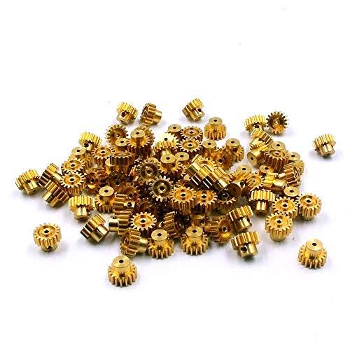 Hockus Accessories 17T Brass Pinion Gear Shaft Size Diameter 2.0mm M0.7 for RC Cars Huckus A949 A959 A969 A979 K929-A Metal Update Part A949-61 - (Color: 2 pcs)