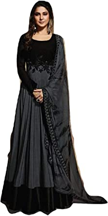 Black Long Anarkali Dress Girl/'s party wear Georgette Gown Bollywood Traditional