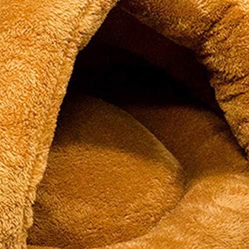 Lai-LYQ Lit pour Chat, Coussin pour Chien, Panier Triangle pour Animaux en Peluche, Matelas épais Chaud Réversible pour Dormir en Hiver Camel
