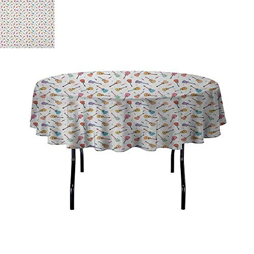 (DouglasHill Guitar Waterproof Anti-Wrinkle no Pollution Rhythm and Melody Pattern with Colorful Acoustic Guitars Country Music Songs Theme Table Cloth D47 Inch)