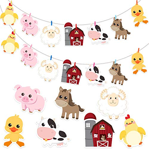 - Blulu 72 Pieces Farm Animal Cardboard Cutouts with Glue Point Dots Set, Clips and Strings for Farm Animal Party Decorations and Supplies, Farm Animals Decor for Baby Shower