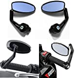 Evomosa Universal Motorcycle 7/8 Handle Bar End Side Mirrors for Honda Cruiser Sport Bikes BMW Ducati Suzuki Yamaha Kawasaki Buell (Black)