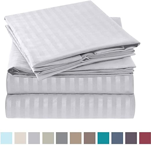 1 PC Fitted Sheet Extra Deep Pocket Stripe Colors 800 Thread Count All US Size