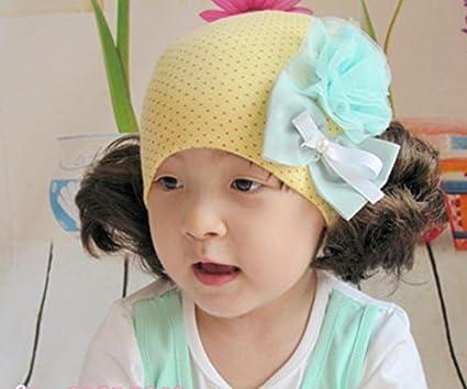 nette Schöne Otoño Primavera Algodón Protección auditiva Baby peluca Gorro Chica doble trenzado Princess Tapa infantil