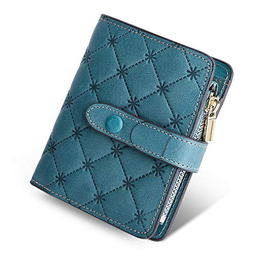 Plaid Tri Fold Wallet - Yafeige Women's RFID Blocking Small Compact Leather Wallet Trifold Ladies Zipper Pocket Wallet Coin Purse(Light Green Plaid flower)