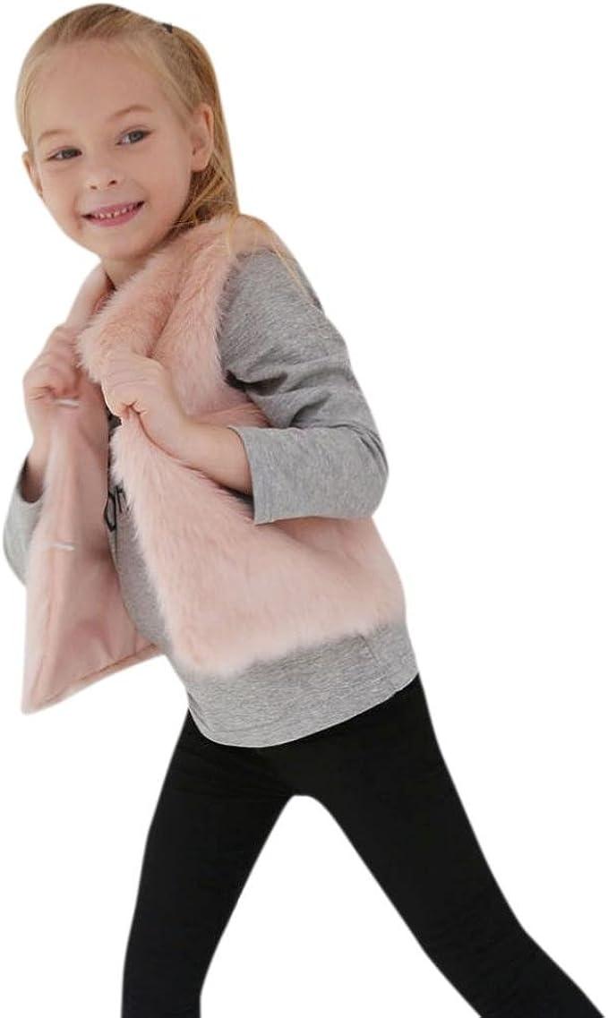 Likecrazy Kinder Winter Warme Webpelz Weste Mode Casual Kunstfell /Ärmellose Jacke Kinder Winter Baby Winterjacke Kinderjacken Fellweste Pelzjacke Outwear 3-8Jahre