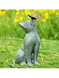 Cat And Butterfly Curiosity Garden Statue