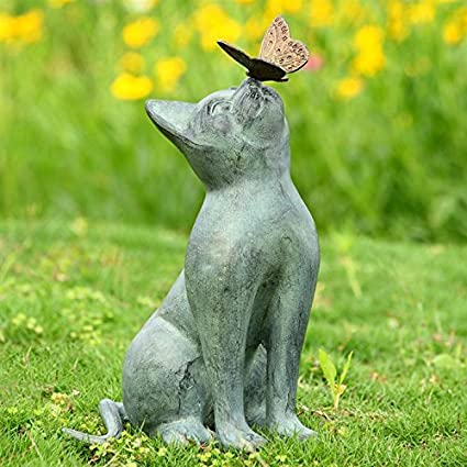 SPI Home Cat And Butterfly Curiosity Garden Statue Green 7.5u0026quot; X  10.5u0026quot; ...