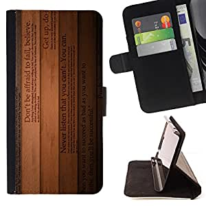 BullDog Case - FOR/HTC One M7 / - / lines text books inspiring wood believe /- Monedero de cuero de la PU Llevar cubierta de la caja con el ID Credit Card Slots Flip funda de cuer