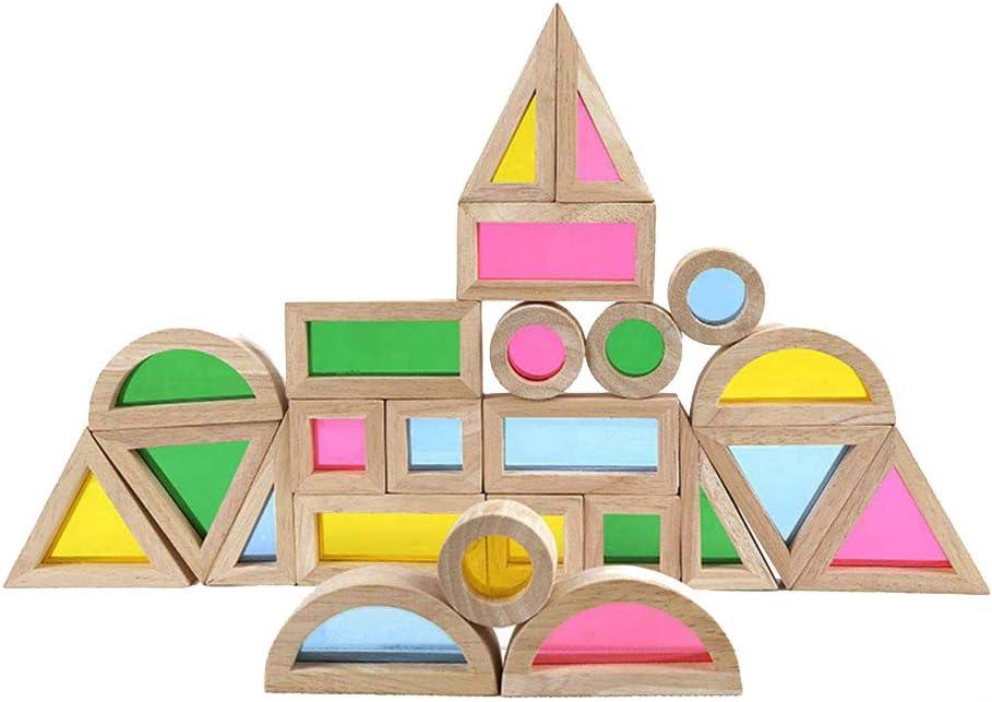 BOHS Bloques de acrílico Arcoiris (24 Piezas) - Juguetes de Madera para niños pequeños - Jugar en la Mesa de luz / Ventana soleada