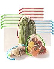 Bolsas Ecológicas para Frutas y Verduras. Bolsas Reusables de Poliéster con Malla Hexagonal para comprar o Guardar fruta y verdura. Disponibles en varios Tamaños y Sets de 6 , 9 , 12 y 15 Piezas. Mesh Reusable Produce Bags