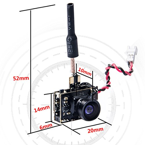 Wolfwhoop WT02-D 600TVL Ultra Micro AIO Camera and 200mW 5.8GHz 40CH Video Transmitter with Dipole Brass Antenna for FPV Indoor Racing