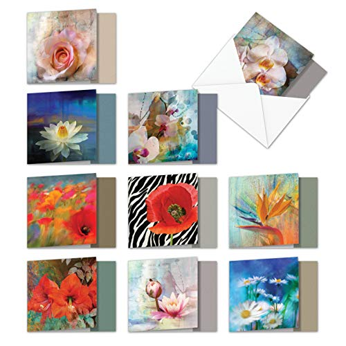 (AMQ6129OCB-B1x10 Wall Flowers: 10 Assorted Set of Blank New 'Square-Top' Note Cards Featuring Images of Fantastic Stucco Flowers, with Envelopes Size: (Size: 4