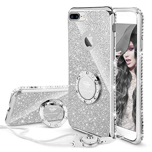 (OCYCLONE iPhone 8 Plus Case, iPhone 7 Plus Case for Girl Women, Glitter Cute Girly Diamond Rhinestone Bumper with Ring Kickstand Protective Phone Case for iPhone 8 Plus / 7 Plus - Silver)