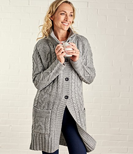 Pure Cardigan Flannel Wool Laine Femme Manteau L Overs Grey wa4qIv