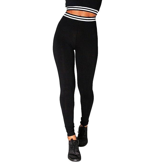 HARRYSTORE Mujer Pantalones elásticos de yoga Señora costura y rayas pantalones Pantalones deportivos mujer Leggings pants Polainas