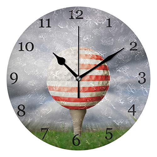 AUUXVA KUWT American Flag Sport Golf Wall Clock Silent Non-Ticking 9.5 Inch Round Clock Acrylic Art Painting Home Office School Decor
