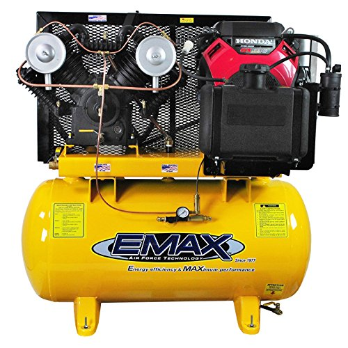 EMAX Compressor EGES1860ST Industrial Plus 18 hp 60G Horizontal Honda Electric Start Air Compressor with Gas Tank, Large, Yellow