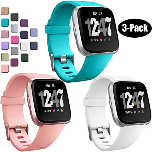 Wepro Bands Compatible with Fitbit Versa SmartWatch, Versa Lite SE Sports Watch Replacement Band for Women Men Kids, Small, 3 Pack, Teal, Peach, White