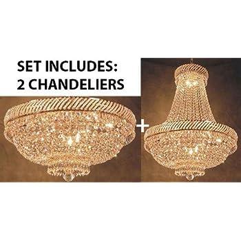 Set of 2 swarovski crystal trimmed chandelier french empire set of 2 swarovski crystal trimmed chandelier french empire crystal chandelier chandeliers lighting h26 aloadofball Choice Image
