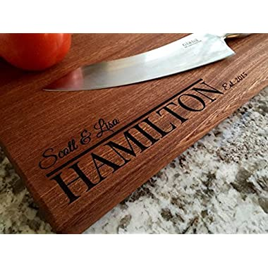 Personalized Cutting Board Beautiful Large Mahogany - Hamilton Style