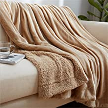 MIRUIKE Reversible Fuzzy Microfiber Flannel Throw Blanket for Bed or Sofa Decorative,Soft Cozy and Warm