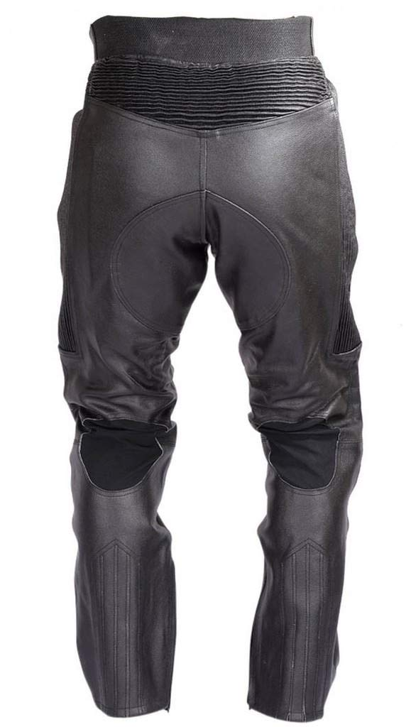 WICKED STOCK Mens Motorcycle Black Leather Pants with CE Rated 4 Piece Armor PT55 XL-Short