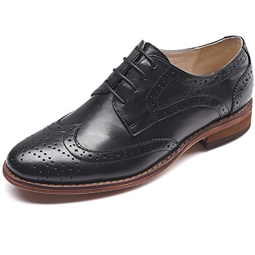 Odema Mujeres Leather Oxfords Perforated Lace-up Wingtip Talla Baja Talla Brogue Zapatos De Vestir Oxfords Negro