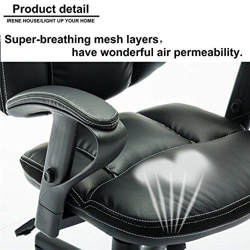 Irene House Comfortable Adult Teen's Swivel Adjustable PU Desk Chair,Ergonomic Mid-Back Student Computer Task Chair,Medium Adult's Home Office Chair(Black) by Irene House (Image #4)'