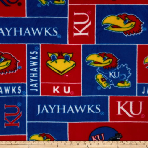 Collegiate Fleece University of Kansas Fabric By The Yard (University Fleece)