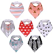 American Kiddo Baby Bandana Drool Bibs for Girls 100% Waterproof Organic Cotton With Snaps and Back Pocket (7-Pack) for Drooling and Teething Babies and Toddlers