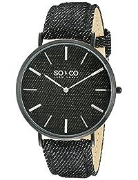SO & CO New York Unisex 5103.4 SoHo Analog Display Japanese Quartz Black Watch