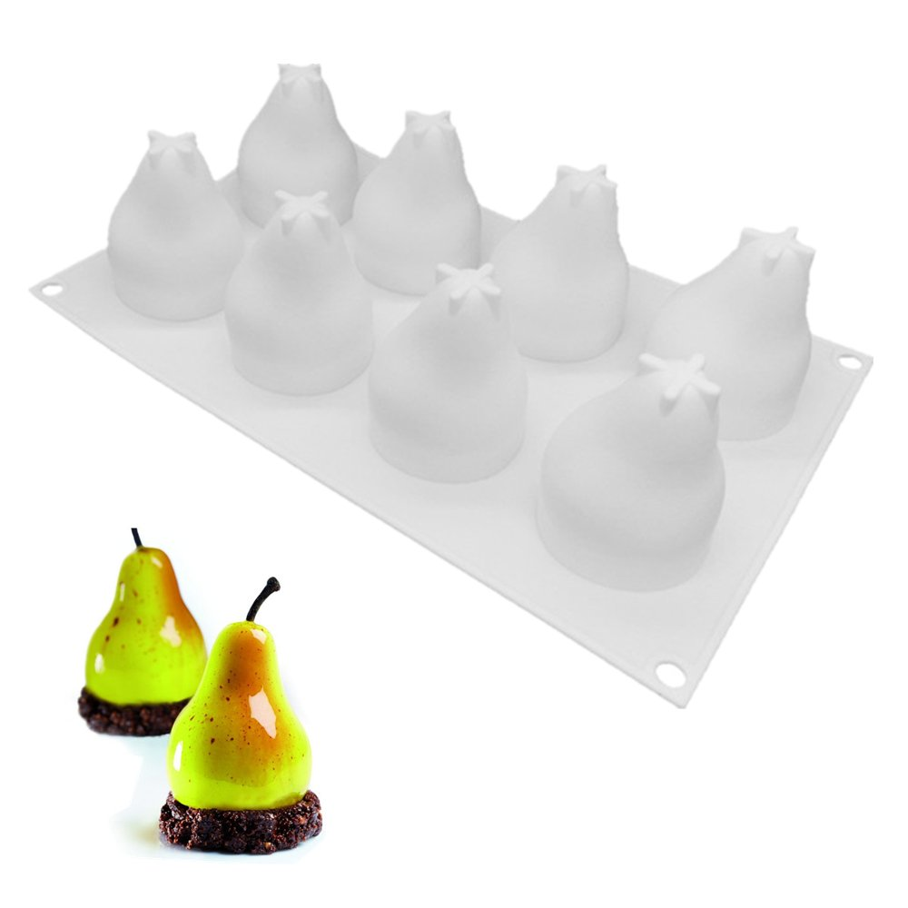 Pear Shape Silicone Molds Cake Decorating Tools Bakeware French Dessert Mousse Cake Mold Baking Cupcake Silicone Mousse Mold - 8 Cavities (PEAR)