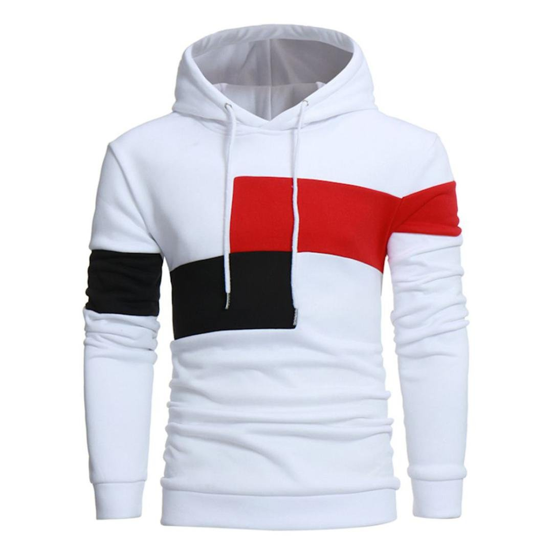 WM&MW Men Hoodie Shirt,Men Color Bolck Hooded Sweatshirt Coat Jacket Outwear Sport Pullover Tops (L (Asia:XL), White) by WM&MW