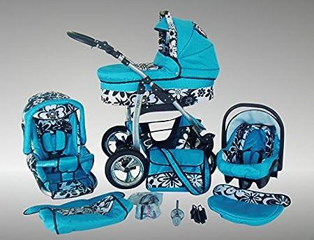 01 Schwarz /& Wei/ß Chilly Kids Dino Kinderwagen Ganzjahres-Set Winterfu/ßsack, Sonnenschirm, Autositz /& Adapter, Regenschutz, Moskitonetz, Getr/änkehalter, Schwenkr/äder